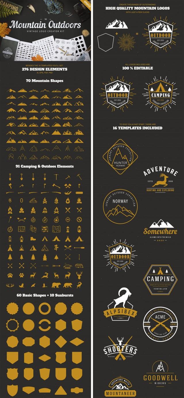 Mountain Vector Label & Logo Kit