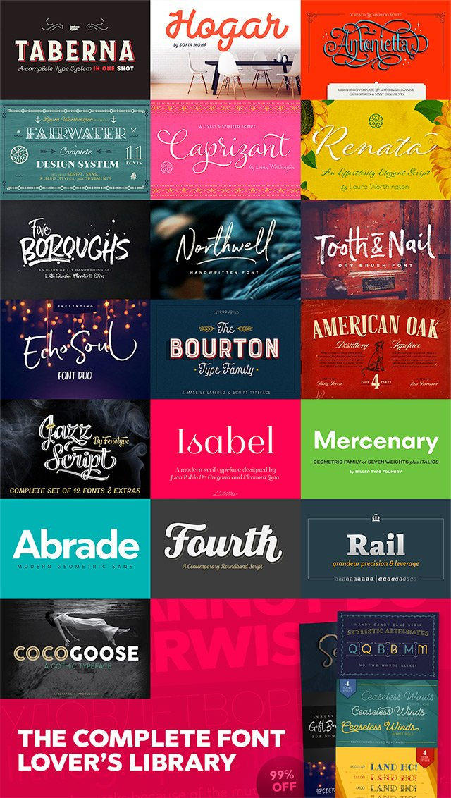 The Complete Font Lovers Library ?? 99% Off