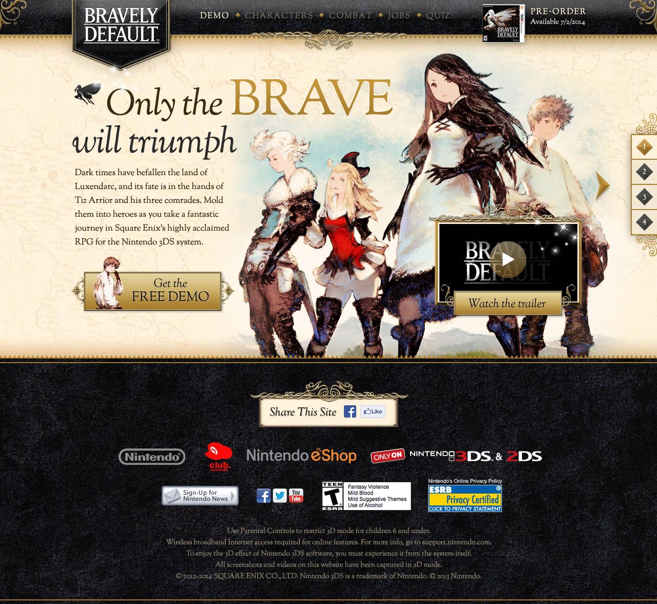 Bravely Default Website