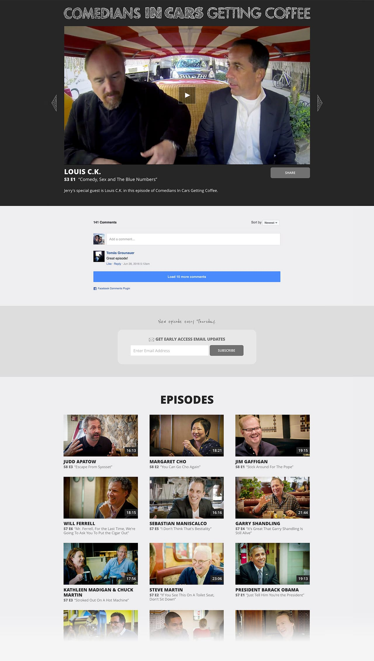 Comedians In Cars Getting Coffee Website Design