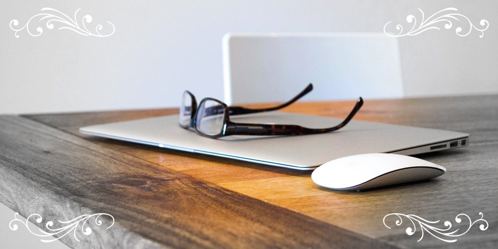 Laptop with Glasses and mouse