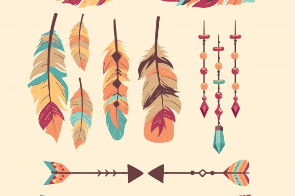 Boho Style DreamCatcher Feather Arrow Vector Freebie
