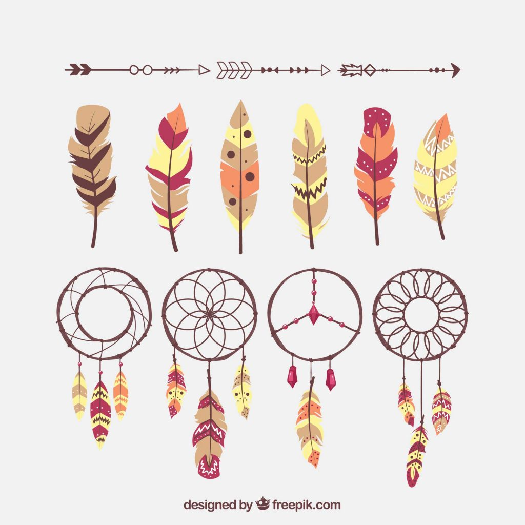 Boho Style DreamCatcher Feather Arrow Vector Freebie