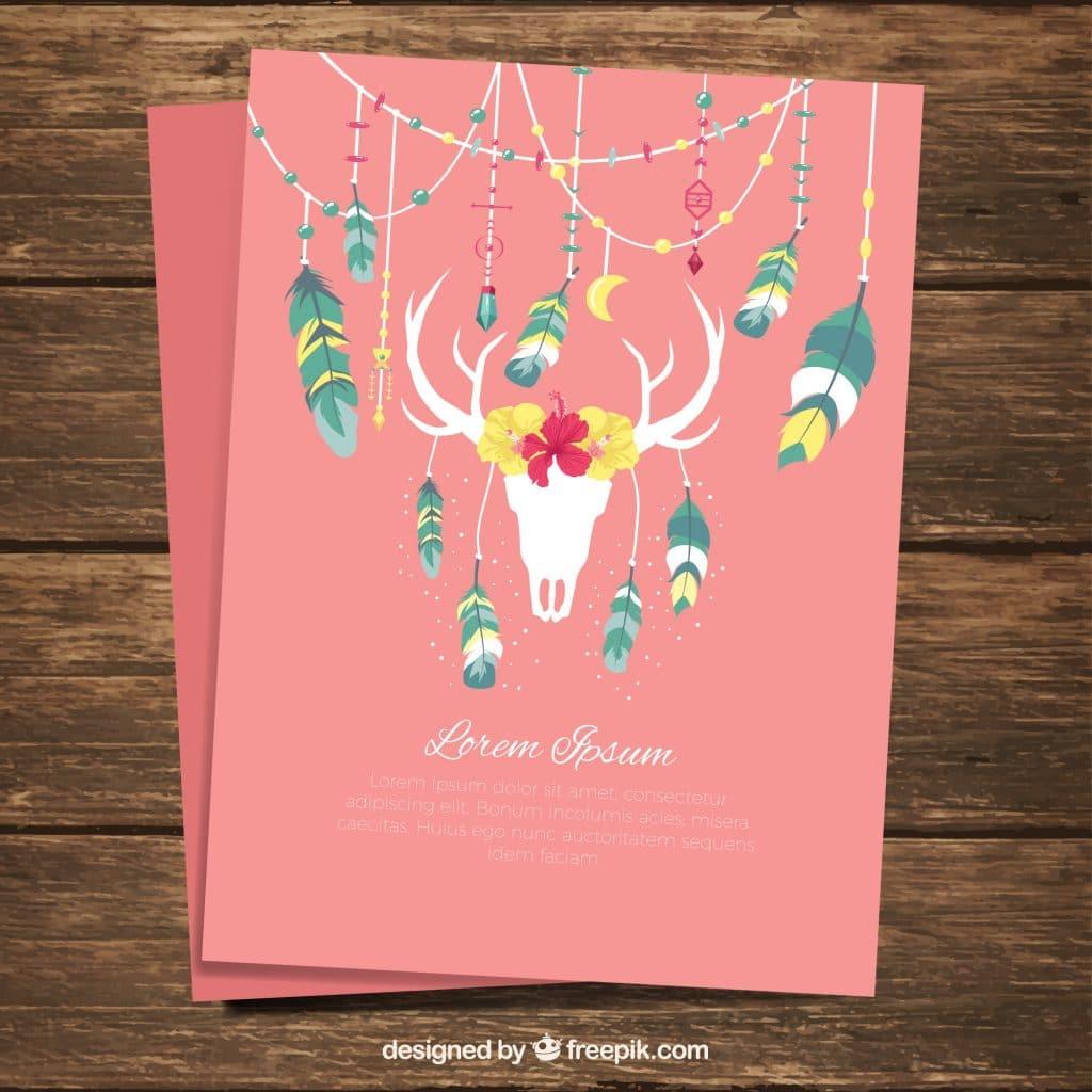Boho Style DreamCatcher Invite Flyer Card Pink