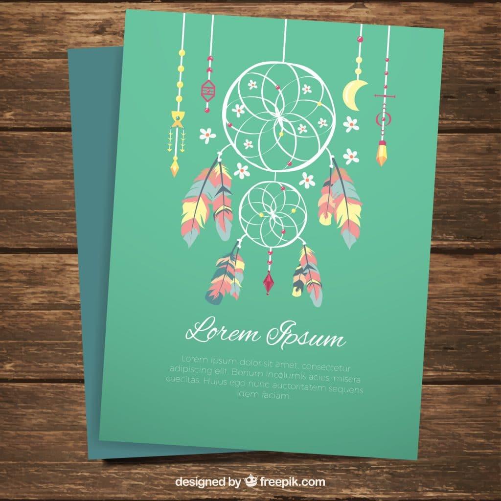 Boho Style DreamCatcher Invite Flyer Card Green