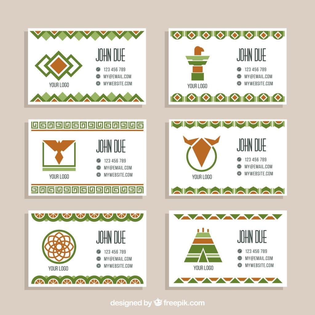 Boho Style Business Card Freebie Green
