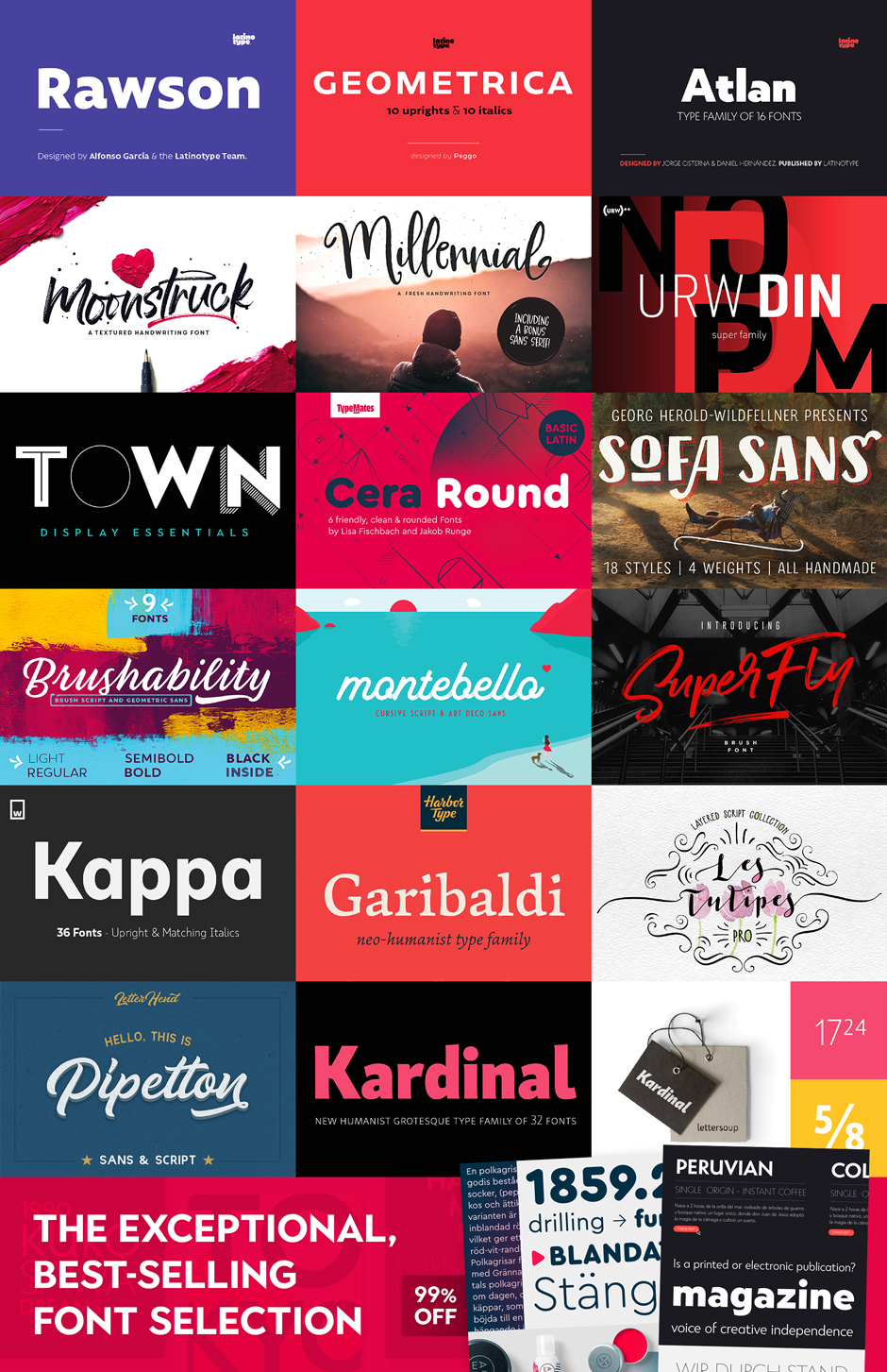 The Exceptional, Best-Selling Font Selection, 99% Off