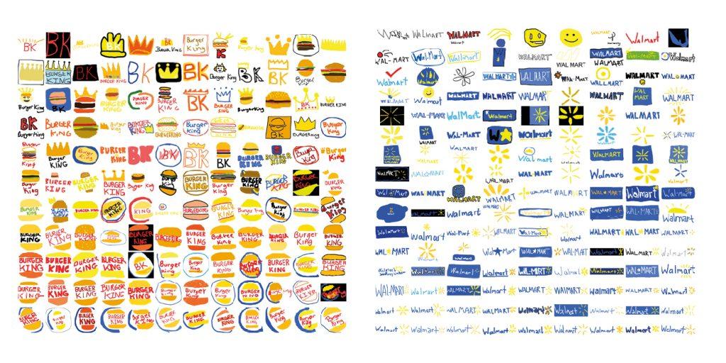 Hand drawn logos from memory