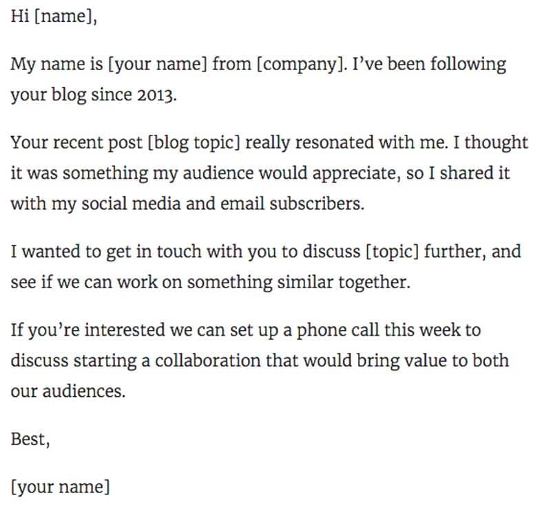 Influencer Outreach Email Template