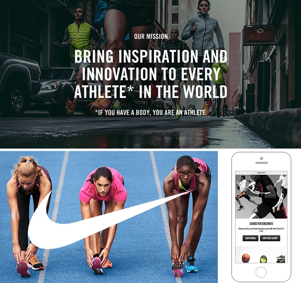 Collage of Nike branding images