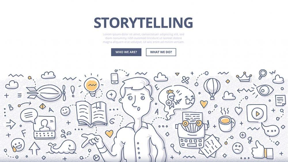Illustration of brand storytelling on a website.