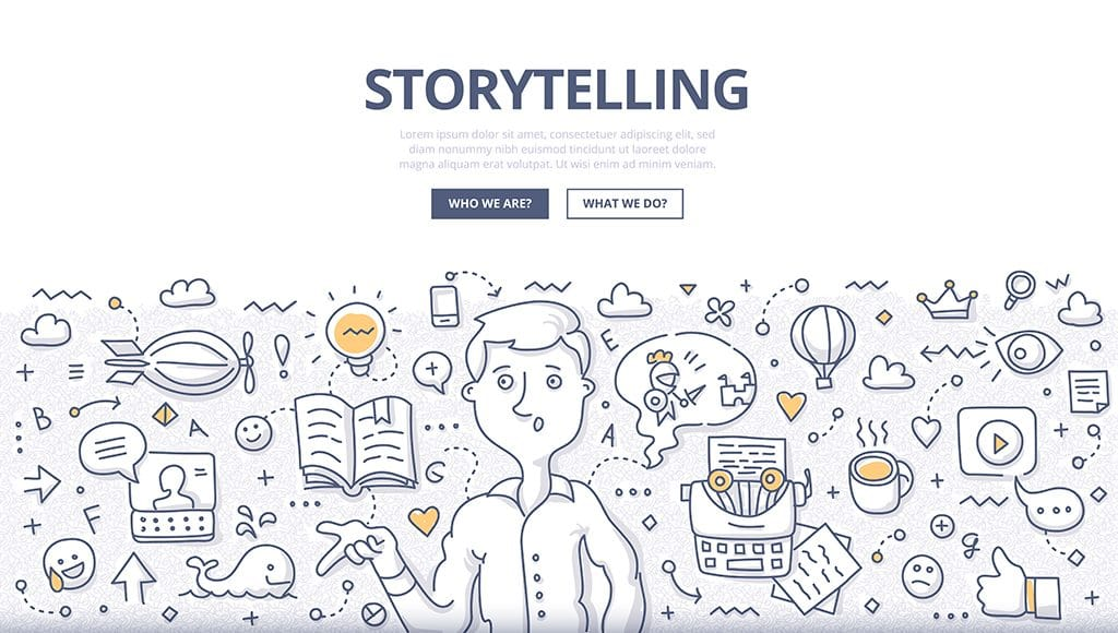 Illustration of brand storytelling on a website.