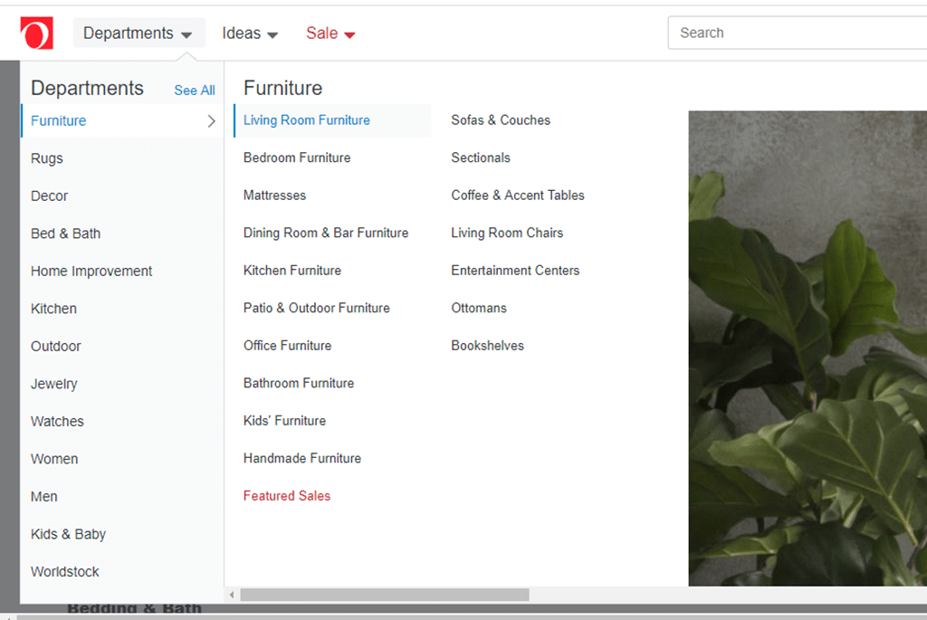 Image of website menu with too many options