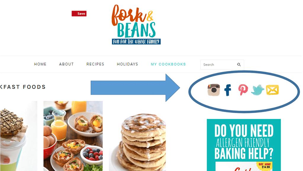 Screenshot of website social links