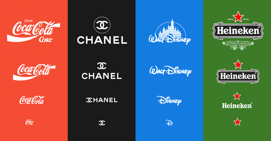 Variable Logos for Coca-Cola, Chanel, Walt Disney, and Heineken