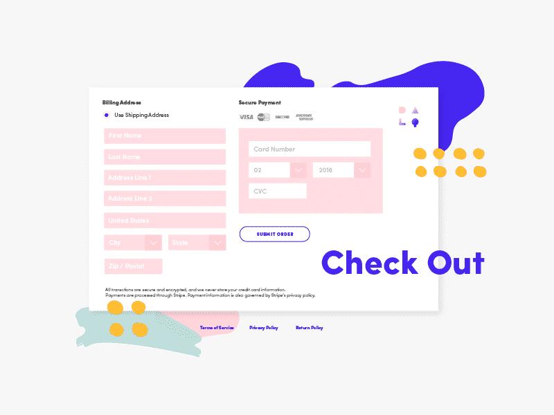 Memphis Design Trend: Website Checkout Trend