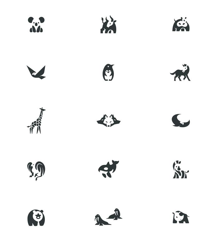 Negative Space Animal Logos