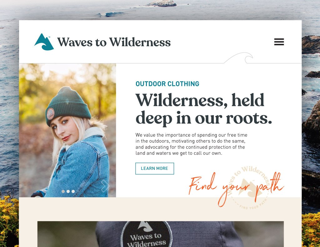 Waves to Wilderness Website Mock