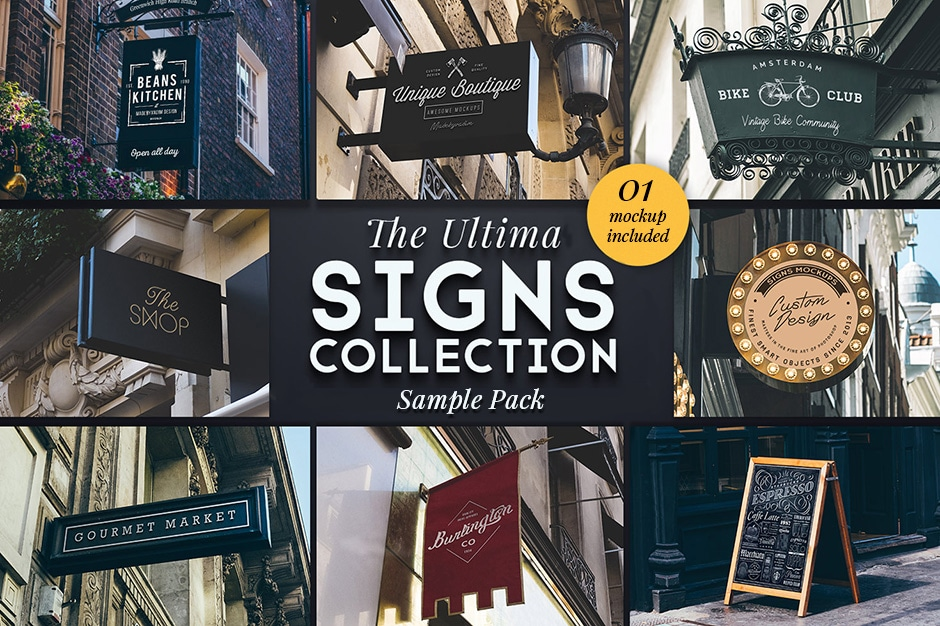 Sign Collection Mockup Pack Free Download PSD