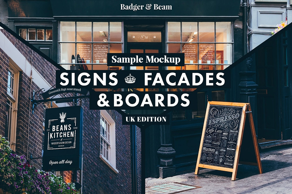 Sign and Facades Mockup Pack Free Download PSD
