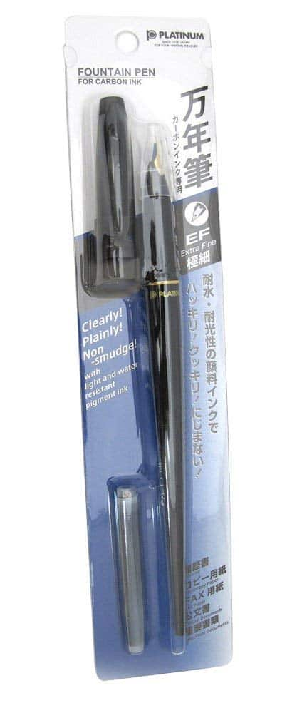 Platinum Carbon Desk Fountain Pen, Super Fine