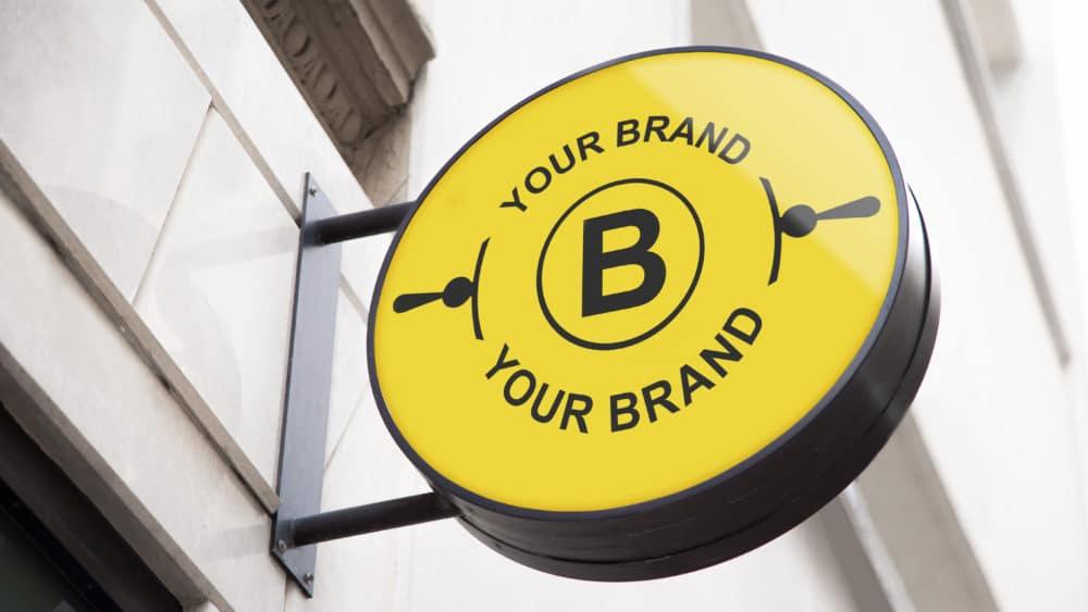 Circle Logo Store Sign Mockup