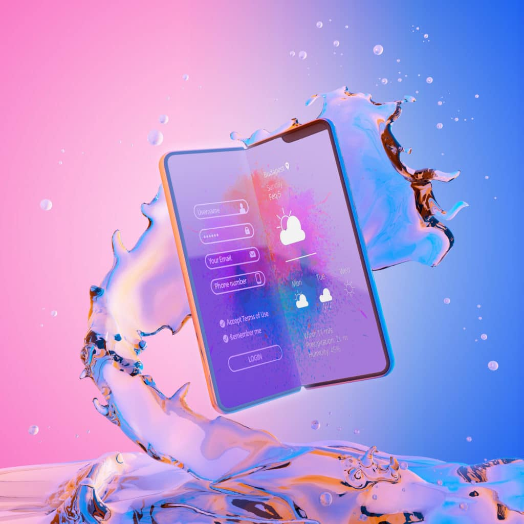 Free Samsung Fold Phone PSD Mockup on Liquid