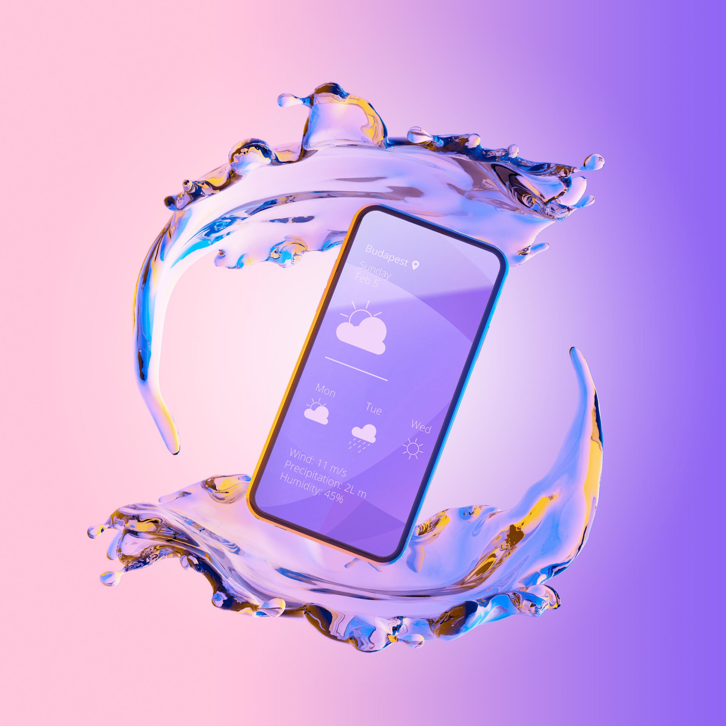 Free iPhone Phone PSD Mockup on Liquid