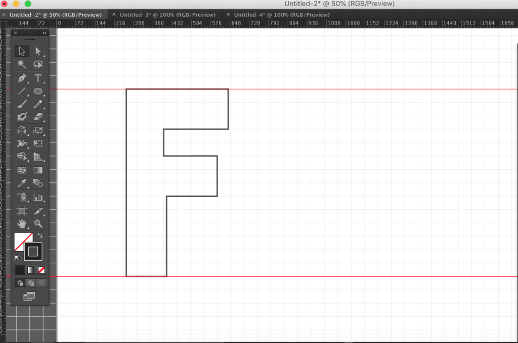 Our completed F shape in outline mode