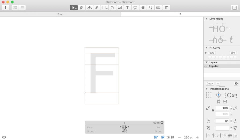 The workspace area within Glyphs for our F