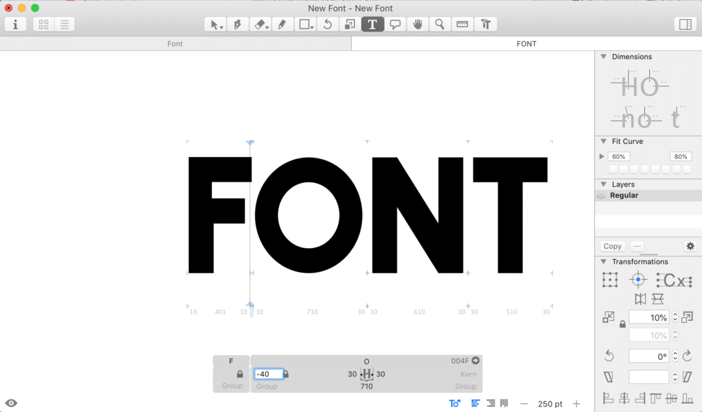 Our new font shown in Glyphs, with kerning