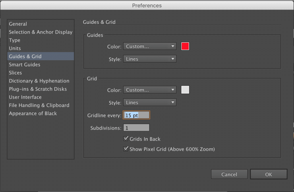 The Guide and Girds settings area in Adobe Illustrator