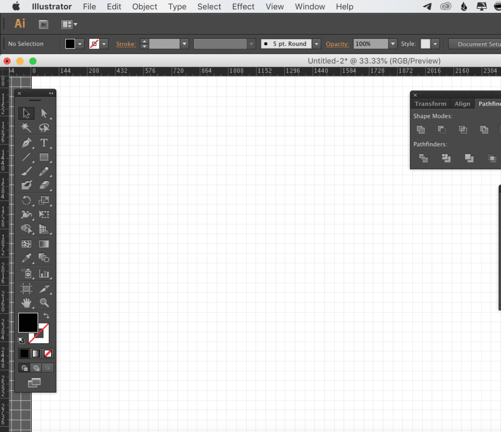 The Adobe Illustrator workspace, set up ready