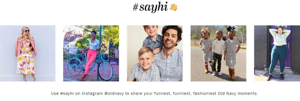 Old Navy homepage including user-generated content (UGC) Instagram feed for customer engagement