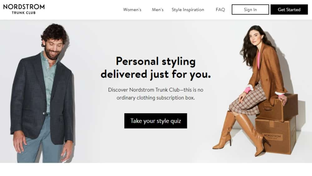 Trunk Club homepage quiz - example of interactive content for website customization