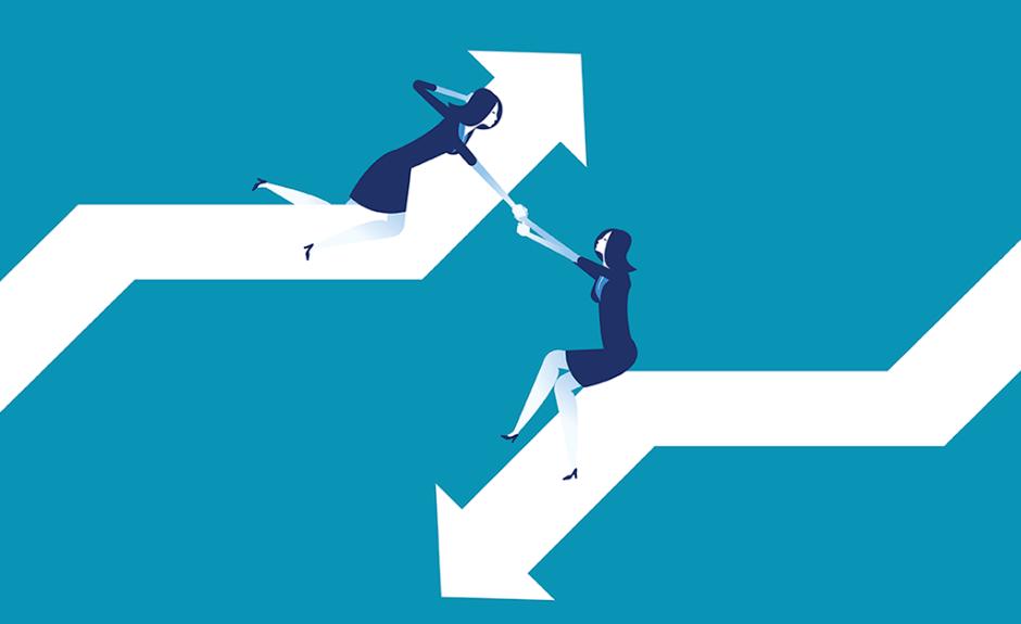 Cartoon 2-way arrows with women holding hands: Establishing Trust - Influencer Marketing