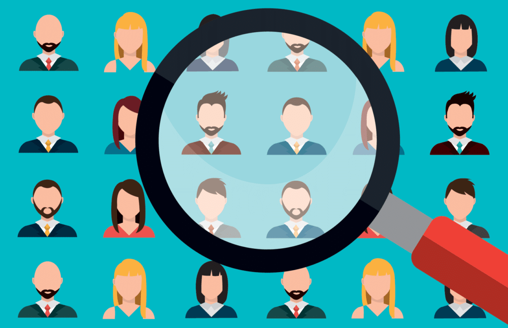 Cartoon people and magnifying glass: Relevant Content - Influencer Marketing