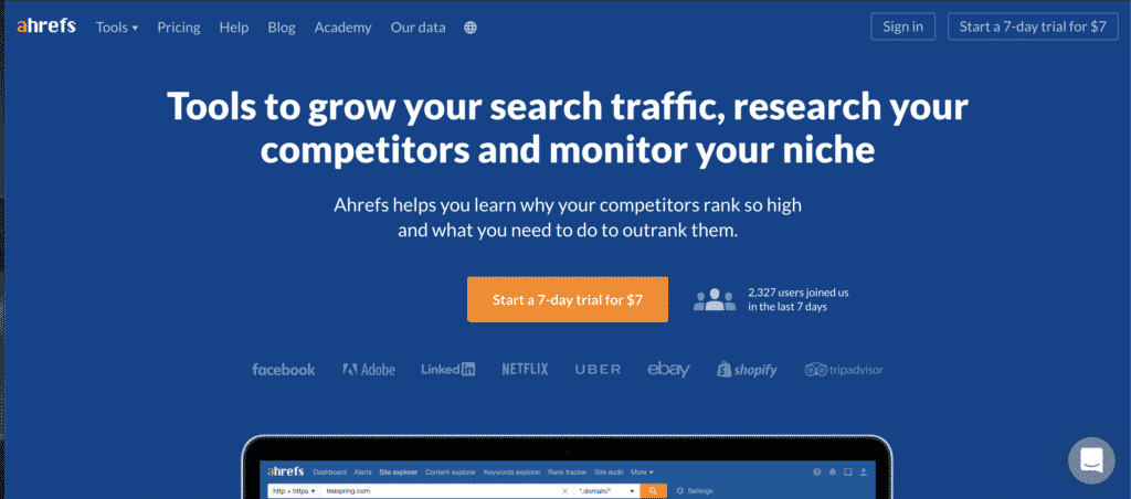 ahrefs Homepage Screenshot - The Only SEO Tools You Need