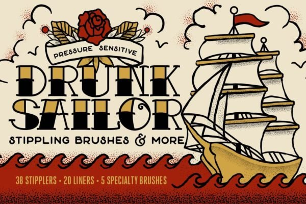 Drunk Sailor | Vector Stippling Brushes & More