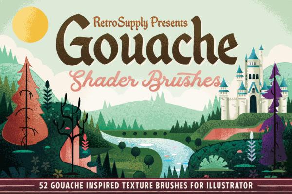 Gouache Shader Brushes for Illustrator