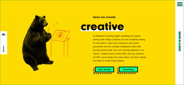 Bike Bear Homepage - Example of Illustration in Web Design - Web Design Trends 2020