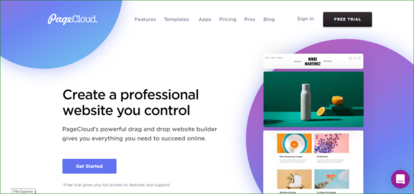PageCloud Homepage - Example of Geometric Shapes in Web Design - Web Design Trends 2020