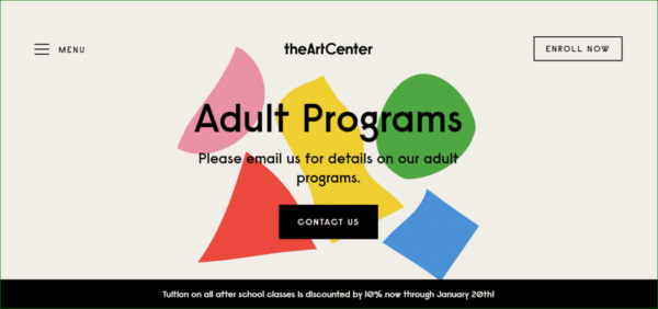 The Art Center Homepage - Example of Geometric Shapes in Web Design - Web Design Trends 2020