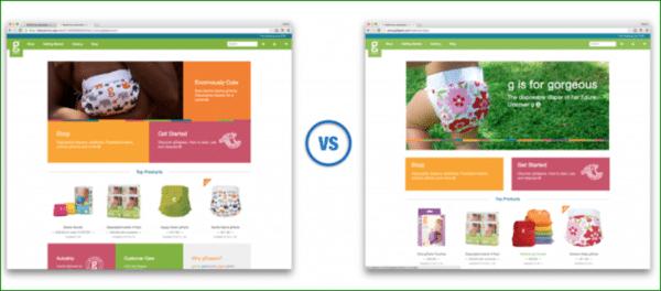Comparison of Homepage Design Using White Space or Negative Space - gDiaper - Web Design Trends 2020