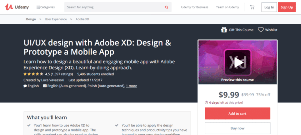 Udemy: UI/UX design with Adobe XD: Design & Prototype a Mobile App
