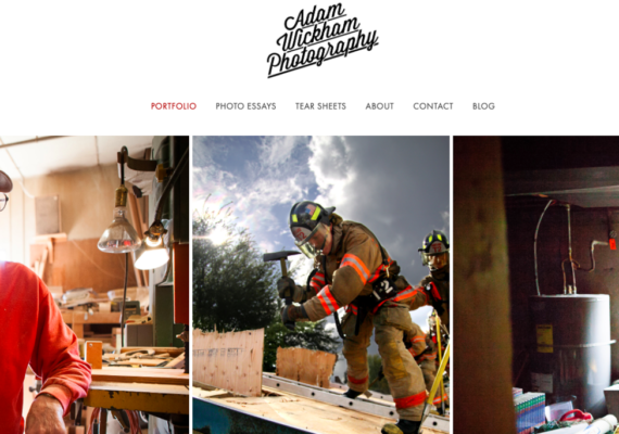 Adam Wickham Photography Website Homepage - Build Your Personal Brand as a Freelancer