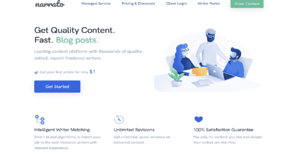 homepage of content creation tool Narrato - How to Create Affiliate Marketing Content that Converts