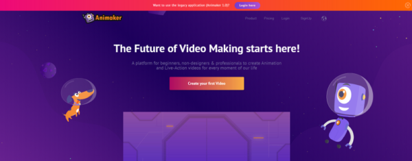 homepage of graphics creation website Animaker - How to Create Affiliate Marketing Content that Converts