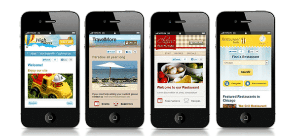 Four iPhones showing different websites optimized for mobile - Content User Experience 101