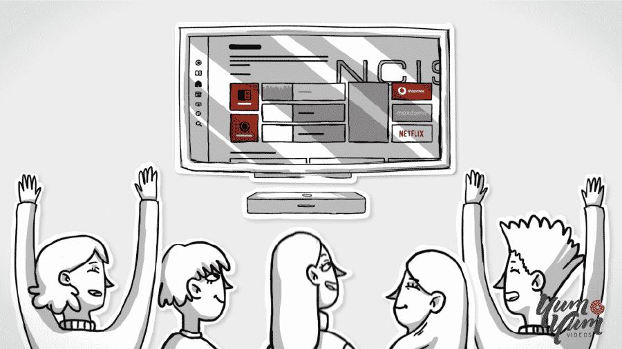 Illustration of people enjoying a video onscreen